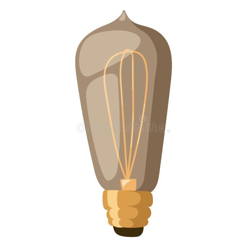 Vintage isolado da casa da decoração do bulbo do projeto do equipamento da eletricidade da ilustração do vetor da lâmpada luz ret ilustração royalty free