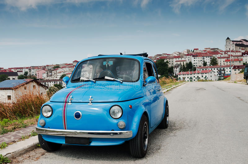 Vintage Italian Car. Vintage fiat italian car parked in a mountain village royalty free stock photos