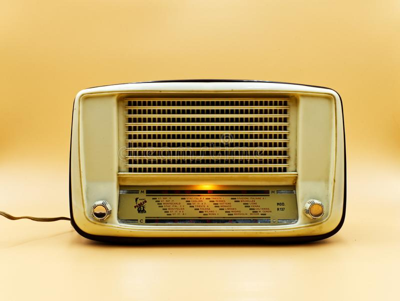 Vintage italian radio parker on clear background. stock image