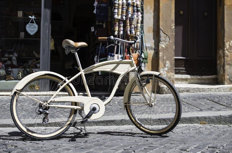 Vintage italian style bicycle. Vintage italian style white bicycle stock image