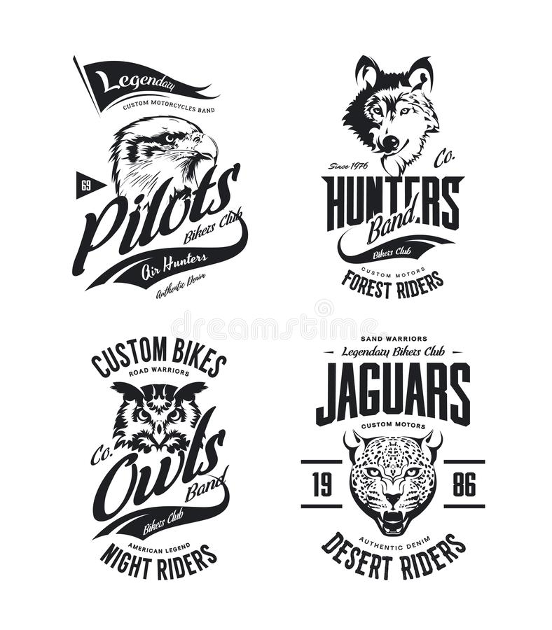 Vintage jaguar, wolf, eagle and owl bikers club t-shirt vector isolated logo set vector illustration