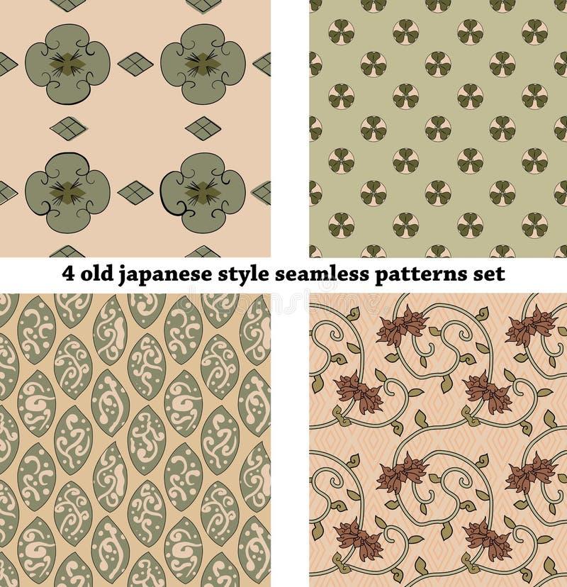 Vintage Japan-style Seamless Patterns set stock illustration
