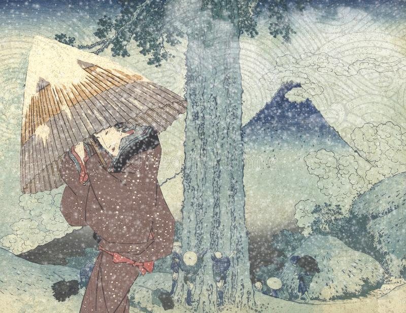 Vintage Japanese Courtesan - Japanese Mountainside - Winter - Snow Background Paper stock illustration
