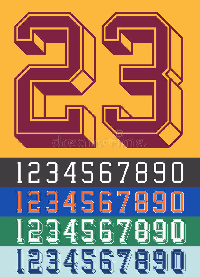 Vintage Jersey font numbers vector illustration
