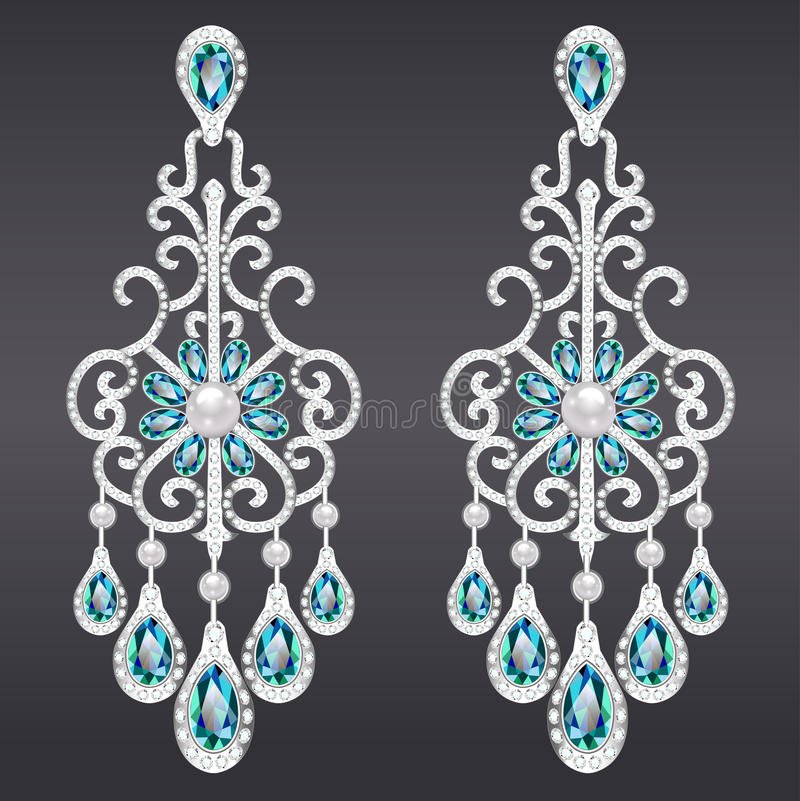 vintage jewelry earrings with green gemstone vector illustration