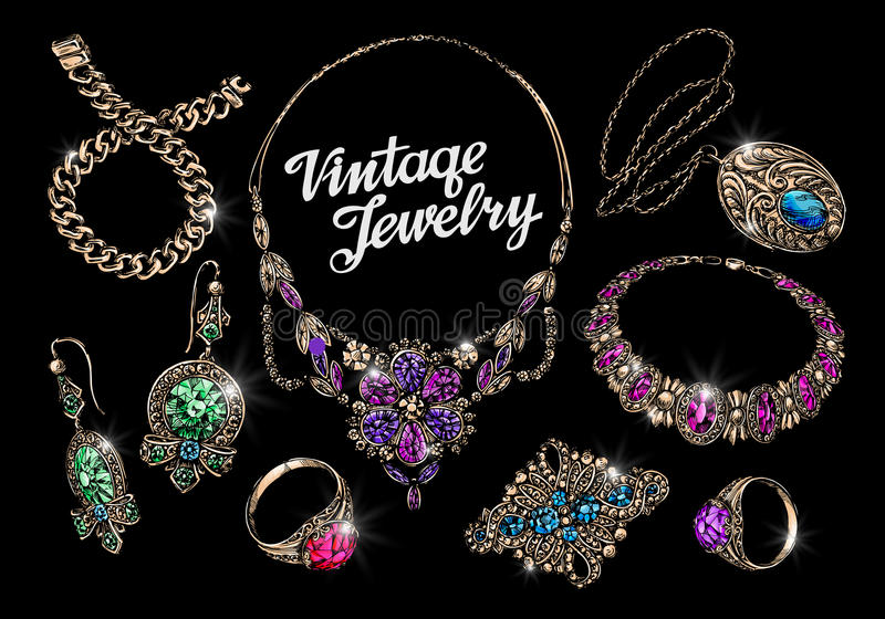 Vintage jewelry with gems. Hand-drawn gold and silver vector illustration. Vintage jewelry, gems. Hand-drawn gold and silver vector illustration stock illustration