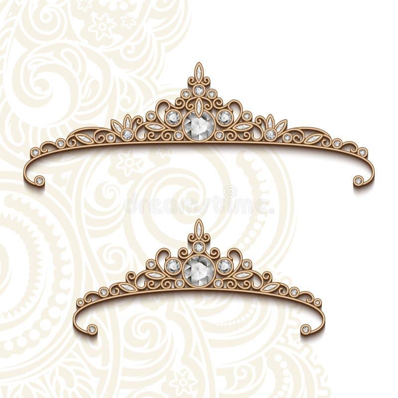 Vintage jewelry gold diadems with diamonds. Pair of vintage jewelry gold diadems, elegant diamond jewellery decoration stock illustration