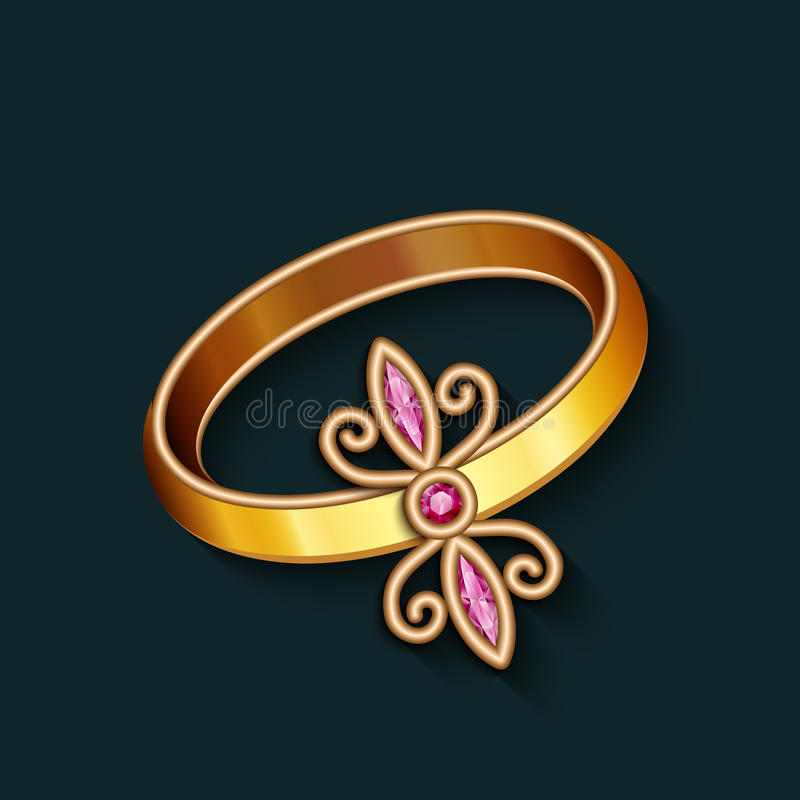 Vintage jewelry gold ring with ruby gemstones. Vintage jewelry gold finger ring with ruby gemstones, jewellery decoration royalty free illustration