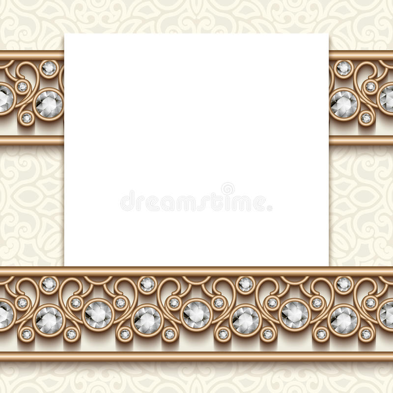 Vintage jewelry greeting card with diamond borders stock illustration
