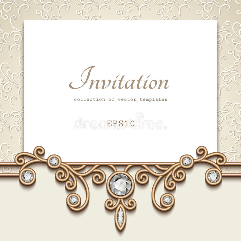 Vintage Greeting Card With Jewelry Gold Border Stock Vector