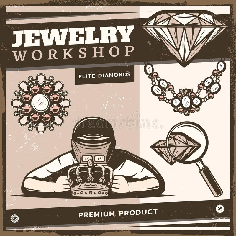 Vintage Jewelry Shop Template. With jeweler repairing royal crown brooch diamond necklace magnifier vector illustration royalty free illustration