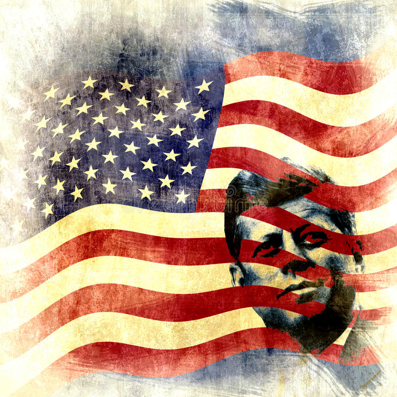 Vintage John F. Kennedy background. Grunge background with the iconic figure of President John F. Kennedy and the US flag vector illustration