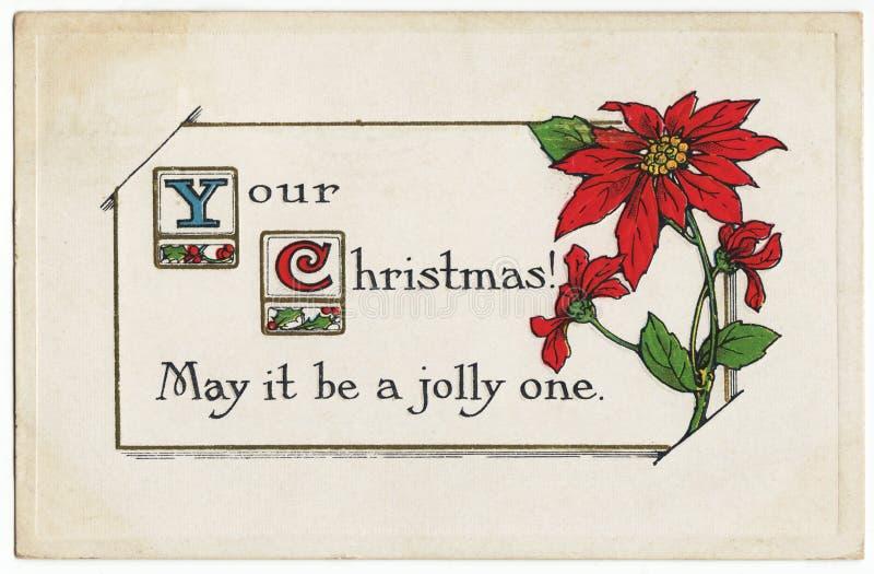 Vintage Jolly Christmas Postcard Poinsettia stock photos