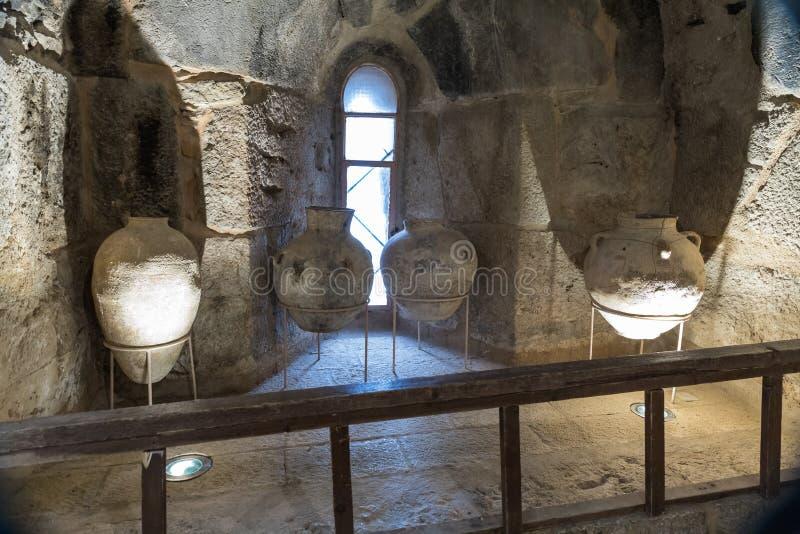 Vintage jugs in Ajloun Castle, also known as Qalat ar-Rabad, is a 12th-century Muslim castle situated in northwestern Jordan, near. Irbid, Jordan, December 08 royalty free stock photography