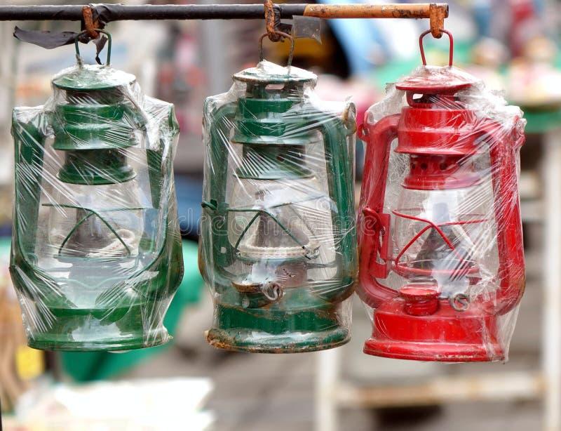Vintage Kerosene Lanterns for Sale stock image