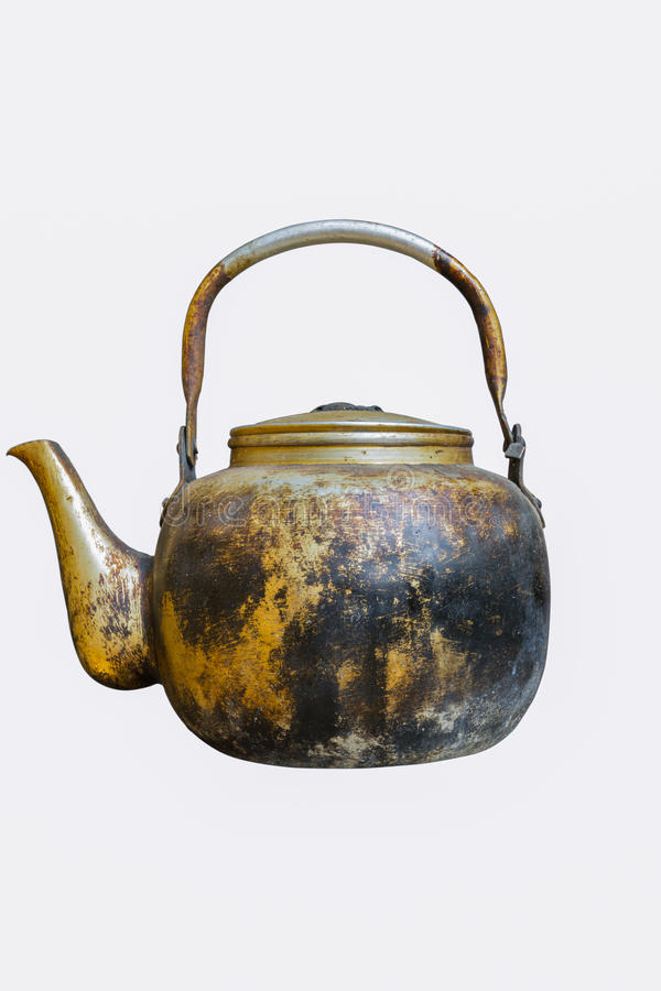 Vintage kettle. Old vintage copper kettle isolated on white with clipping path stock photography