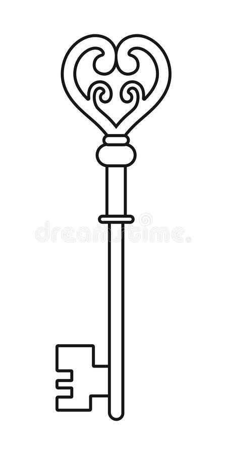 Download Vintage Key For Coloring Book Black Linear Silhouette Isolated On White Background Stock