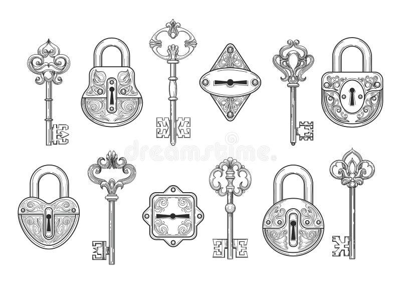 Vintage key, keyhole and lock set royalty free illustration