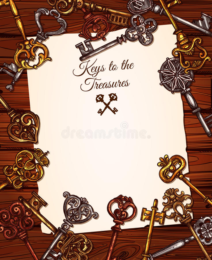 Vintage key with old paper on wooden background stock illustration