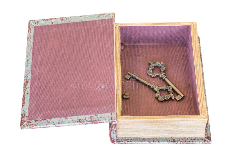 Vintage keys inside old box isolated on white background stock photo