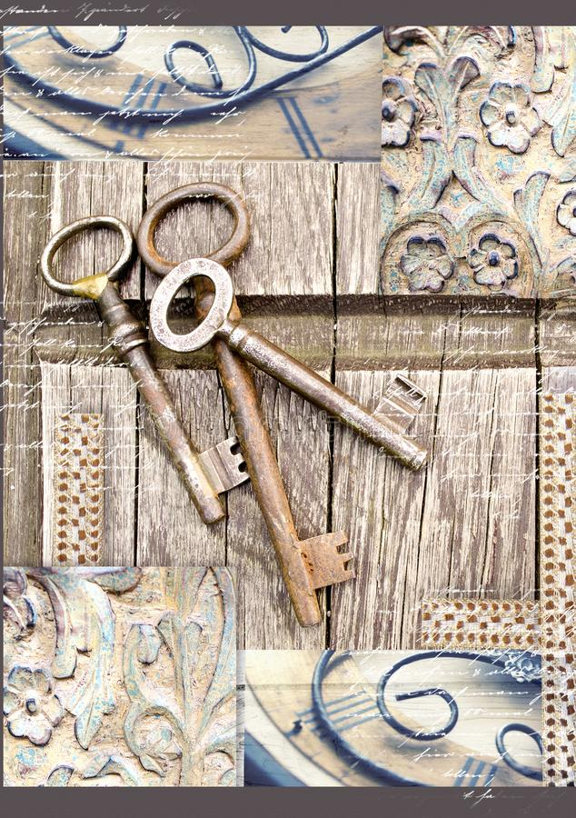 Vintage keys on old wooden background. . Three old, rustic keys on the table. royalty free stock photo