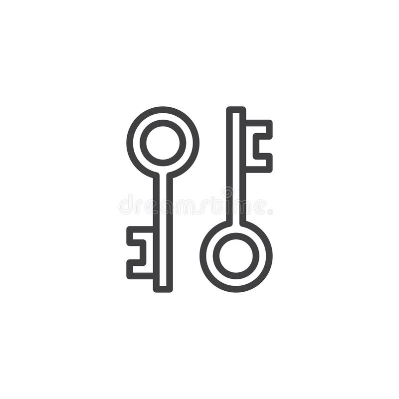 Vintage Keys outline icon vector illustration