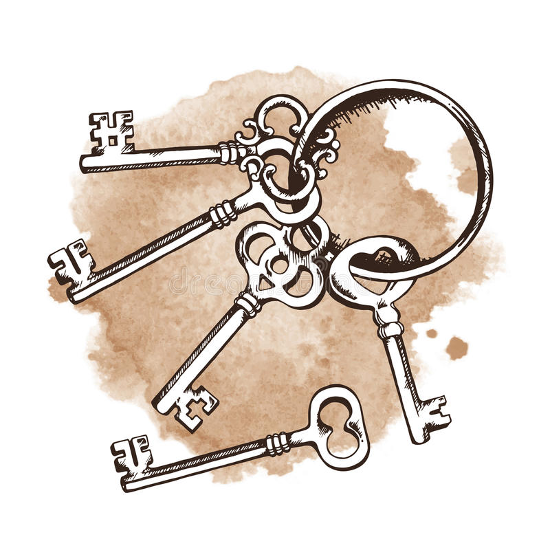 Vintage keys over watercolor background. Vector illustration stock illustration