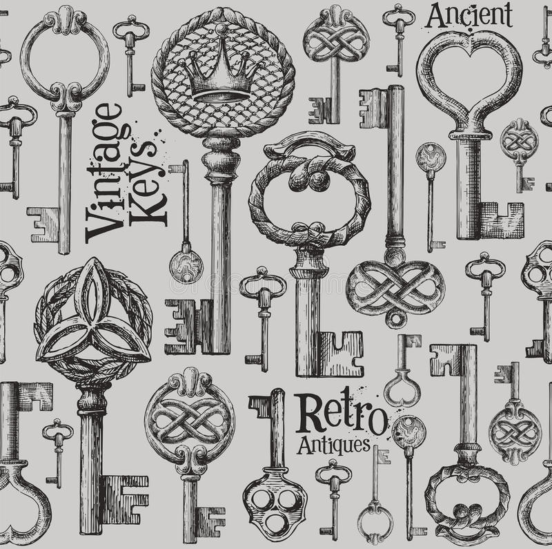 Vintage keys vector logo design template. antiques royalty free illustration