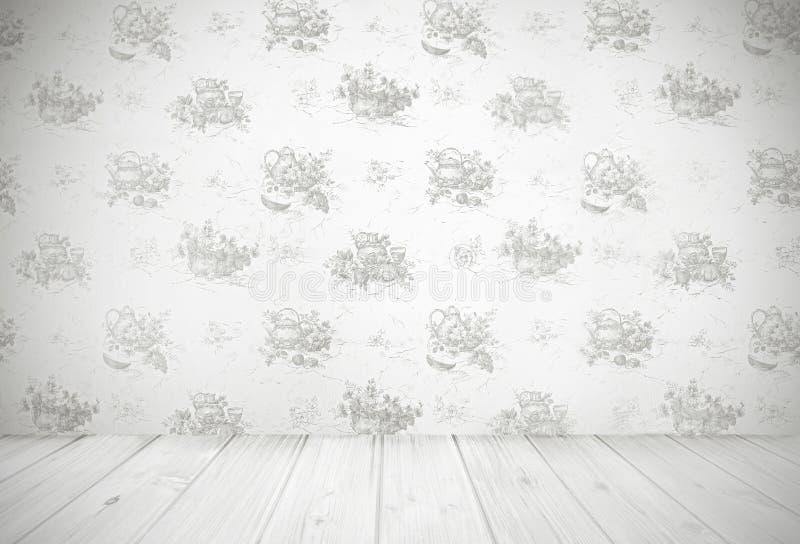 Vintage kitchen background. Kitchen wallpaper and grungy wooden floor, vintage room design stock illustration