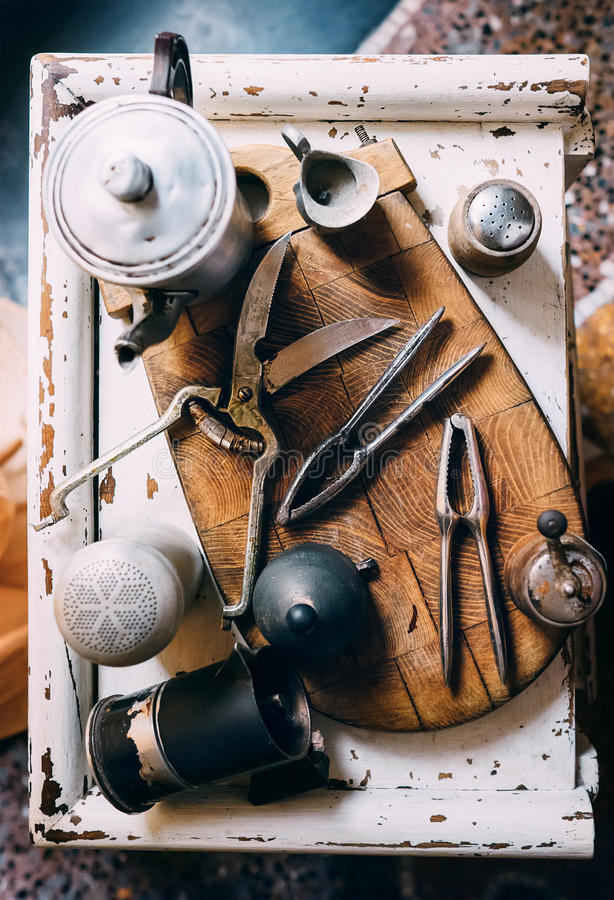 Vintage kitchen props. Laid out on the wooden desk royalty free stock photo