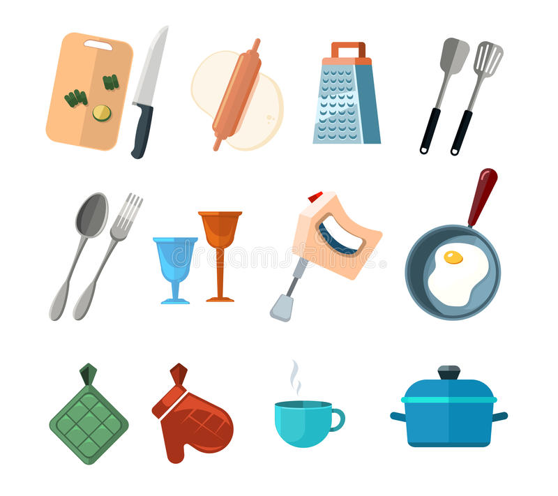 Vintage kitchen tools, home cooking vector icons set royalty free illustration