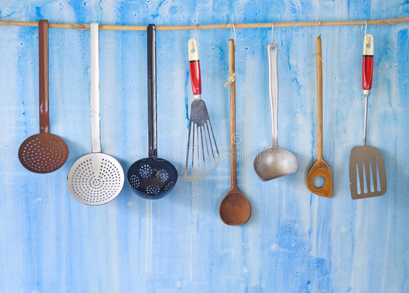 Vintage kitchen utensils, stock photos