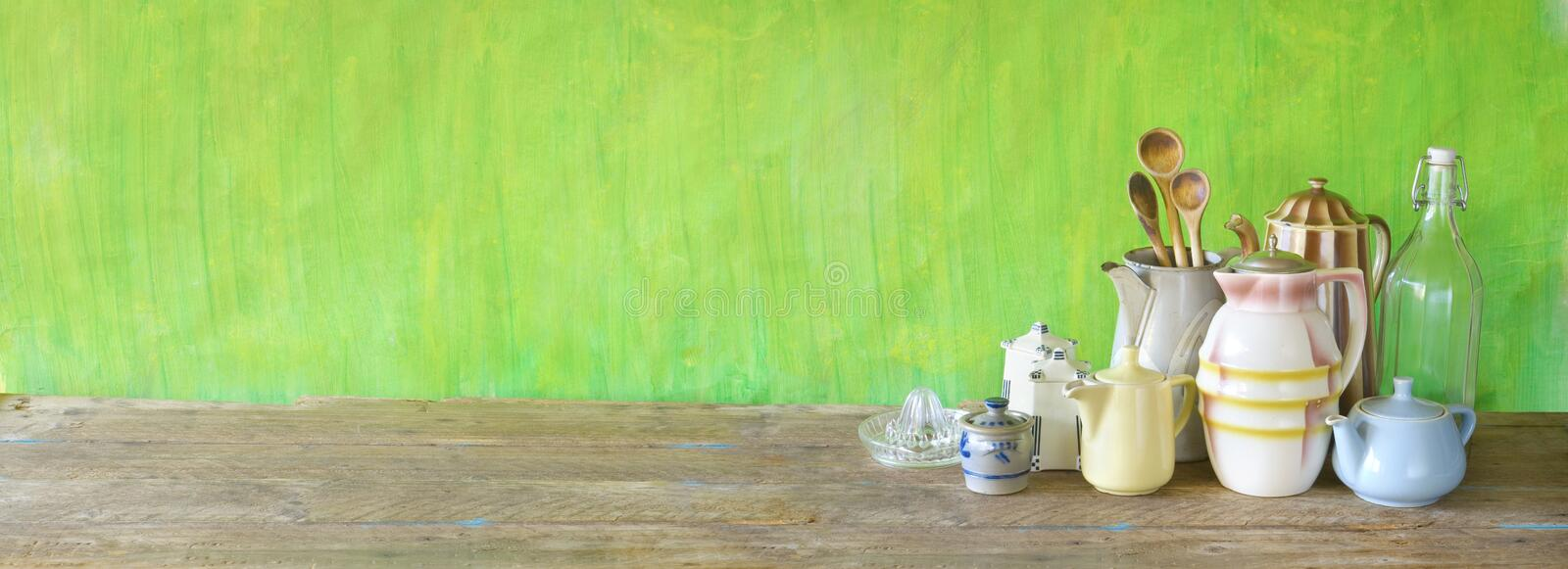 Vintage kitchen utensils, and crockery, restaurant ,cooking, kitchen concept mock up .Panoramic banner format large copy stock image
