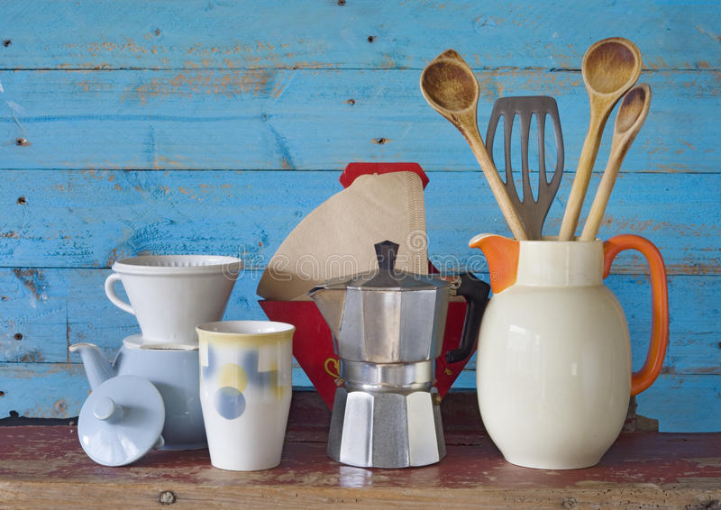 vintage kitchenware and dishes stock image - image of