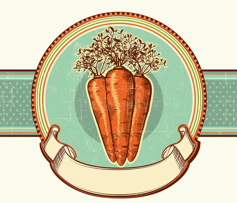 Vintage label with carrots.Vector illustration bac stock illustration