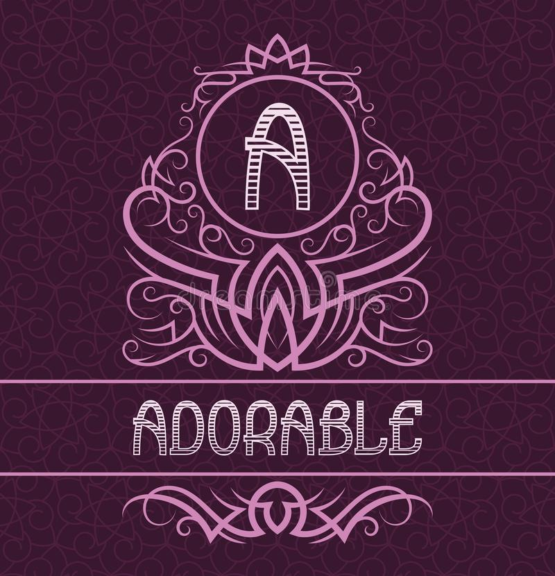 Vintage label design template for adorable product. Vector monogram with text on patterned background vector illustration