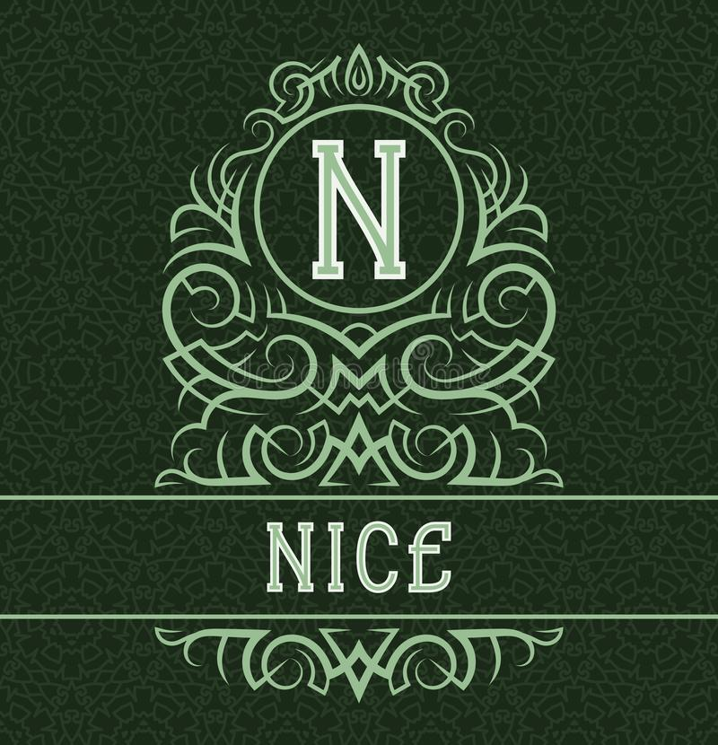Vintage label design template for nice product. Vector monogram with text on patterned background vector illustration