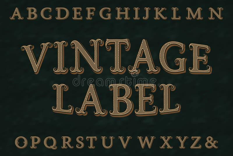 Vintage label font. Isolated english alphabet vector illustration
