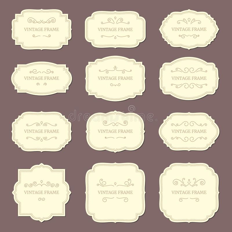 Vintage label frames. Old ornamental labels, fashion product tag. Retro frame vector template royalty free illustration
