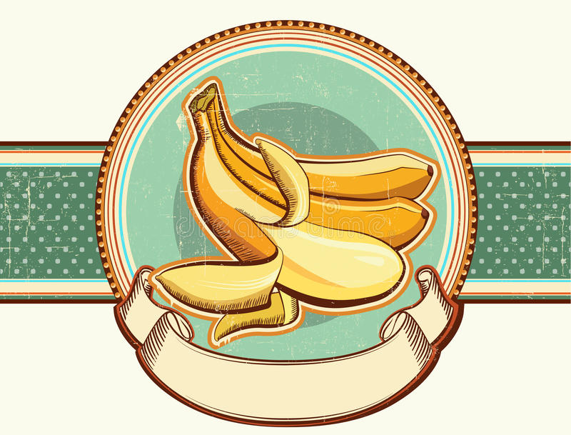 Download Vintage Label With Fresh Bananas.Vector Illustrati Royalty Free Stock Images - Image: 30293139