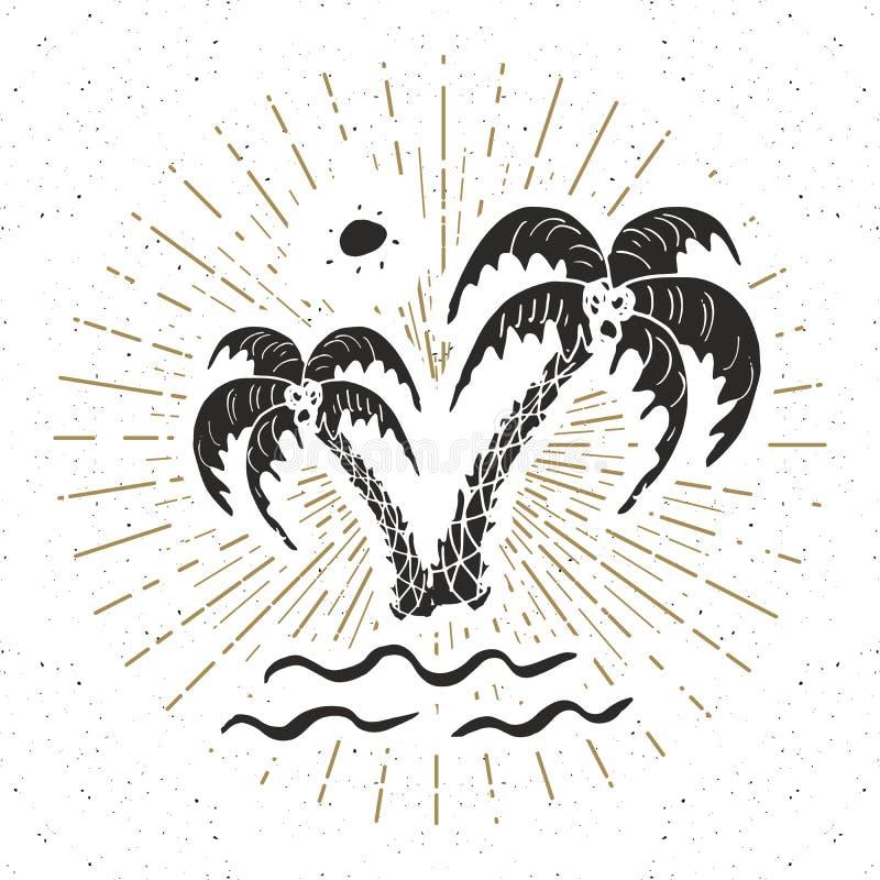 Vintage label, Hand drawn palm trees, grunge textured retro badge template, typography design vector illustration.  stock illustration