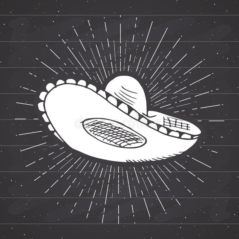 Vintage label, Hand drawn sombrero mexican traditional hat sketch, grunge textured retro badge, emblem design, typography t-shirt. Print, vector illustration on stock illustration