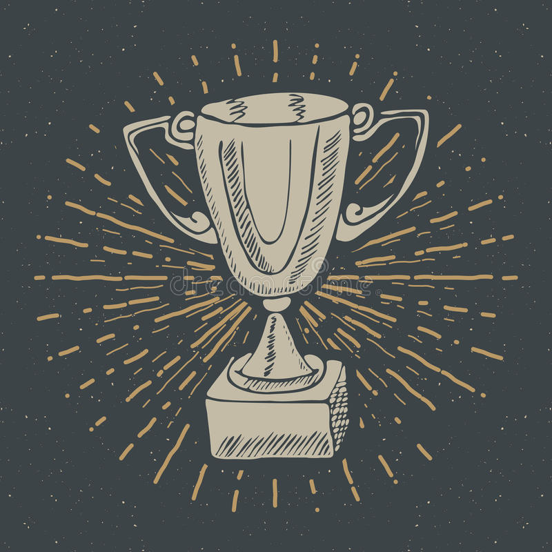 Vintage label, Hand drawn Sport trophy, winners prize, grunge textured retro badge, typography design t-shirt print, vector illust royalty free illustration