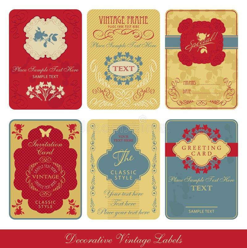 Vintage label set. Vintage romantic greeting label illustration royalty free illustration