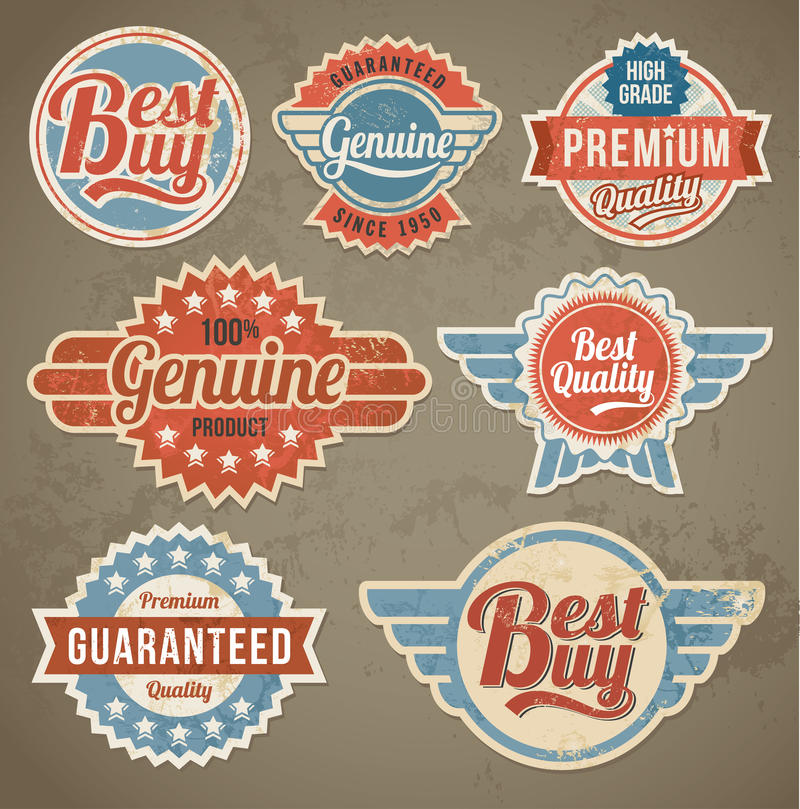 Vintage label set. Vector retro design banner backgrounds royalty free illustration