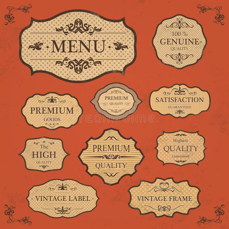 Free Vintage Label Style Frame Collection Royalty Free Stock Photo - 34603555
