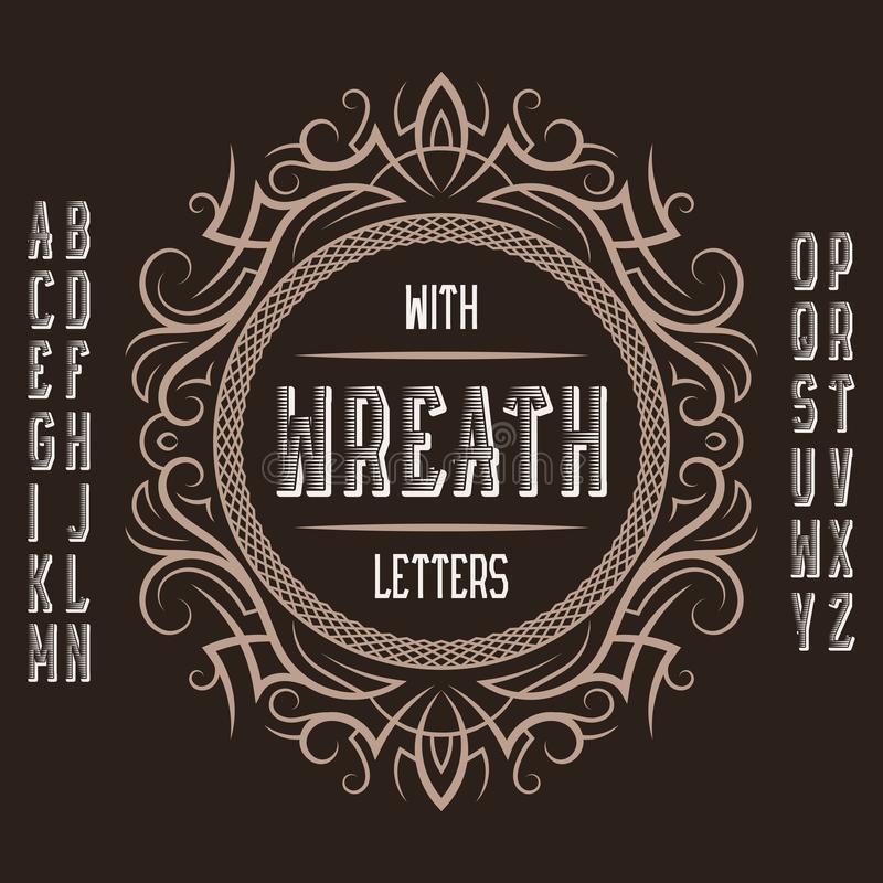 Vintage label template in patterned frame. Isolated logo design elements and alphabet royalty free illustration