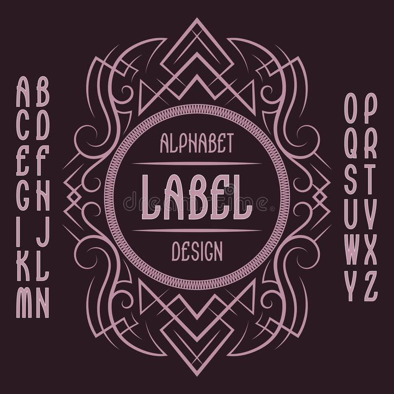 Vintage label template in patterned frame. Isolated logo design elements and alphabet stock illustration
