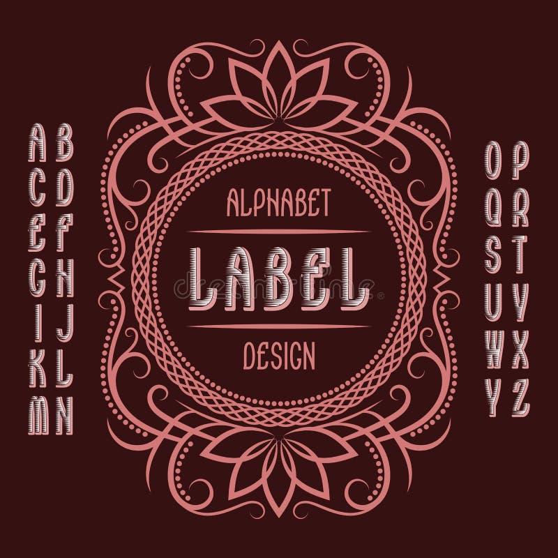 Vintage label template in patterned frame. Isolated logo design elements and alphabet vector illustration