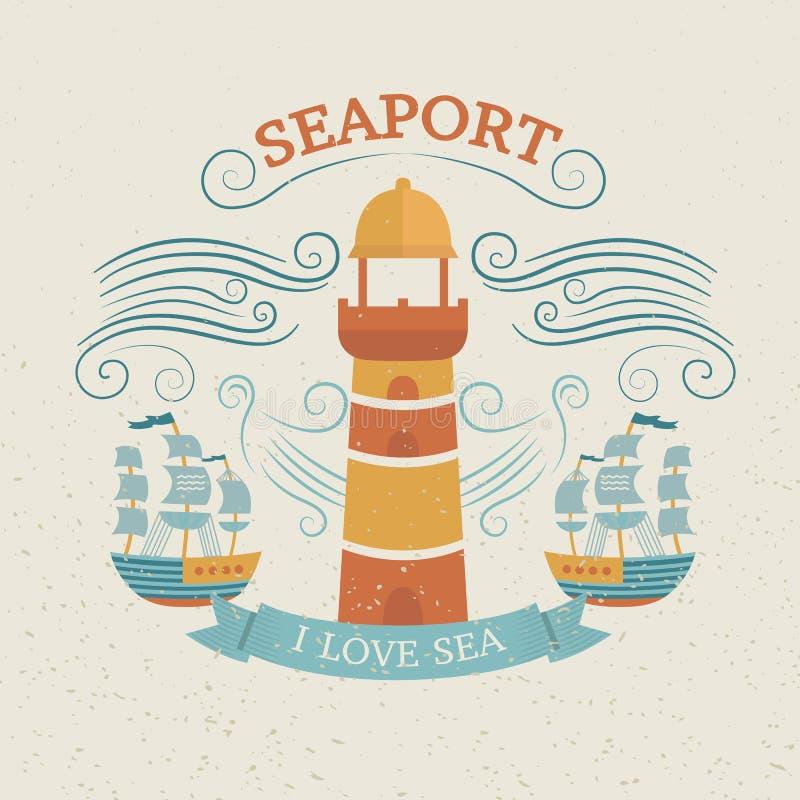 Vintage labels with lighthouse stock illustration